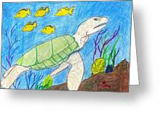 Seaturtle Swimming The Reef Greeting Card