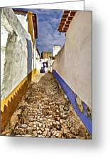 Secluded Cobblestone Street In The Medieval Village Of Obidos IIi Greeting Card