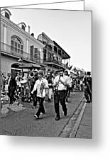 Second Line Parade Bw Greeting Card