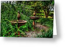 Secret Garden Birdbath Greeting Card