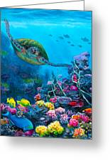 Secret Sanctuary - Hawaiian Green Sea Turtle And Reef Greeting Card