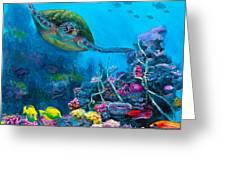 Secret Sanctuary - Hawaiian Green Sea Turtle And Reef Greeting Card