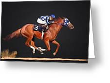 Secretariat And Turcotte Greeting Card by GCannon