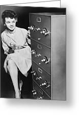 Secure Filing Cabinet Greeting Card by Underwood Archives