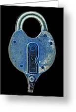 Secure - Lock On Black  Greeting Card