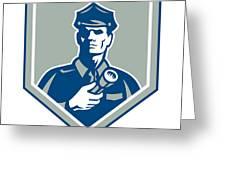 Security Guard Flashlight Shield Retro Greeting Card by Aloysius Patrimonio