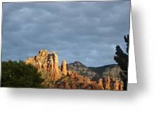 Sedona Illumated Mountains Greeting Card