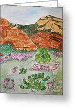Sedona Mountain With Pears And Clover Greeting Card
