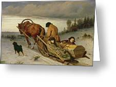 Seeing Off The Dead, 1865 Oil On Canvas Greeting Card