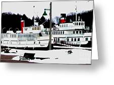 Segwun And Wenonah Steamships In Winter Greeting Card