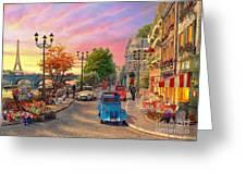 Seine Sunset Greeting Card