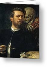 Self Portrait With Death Greeting Card by Arnold Bocklin