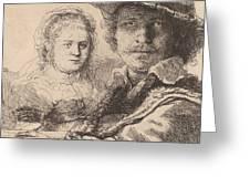 Self Portrait With Saskia Greeting Card