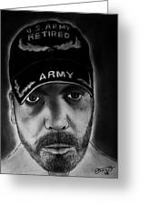 Self Portrait With Us Army Retired Cap Greeting Card