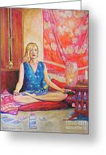 Self Portriat Meditating With Tarot Greeting Card