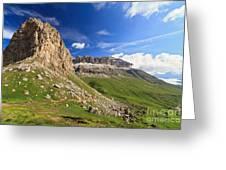 Sella Mountain And Pordoi Pass Greeting Card