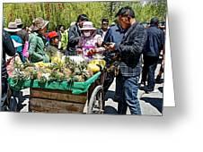 Selling Fresh Pineapple On Street In Lhasa-tibet    Greeting Card