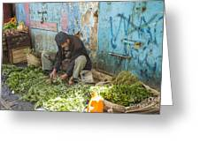 Selling Herbs In The Souk Greeting Card