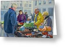 Selling Vegetables At The Market Greeting Card