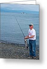 Senior Caught A Pollock In Kachemak Bay Off Homer Spit-alaska Greeting Card
