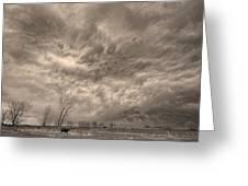 Sepia Angry Skies Greeting Card