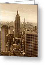 Sepia Empire State Building New York City Greeting Card