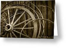 Sepia Photo Of Broken Wagon Wheel And Rims Greeting Card