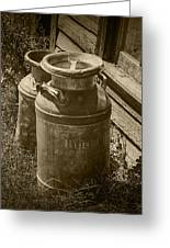 Sepia Photo Of Vintage Creamery Cans At The Old Prairie Homestead Near The Badlands Greeting Card