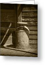 Sepia Photograph Of Vintage Creamery Can By The Old Homestead In 1880 Town Greeting Card