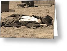 Sepia Rodeo Gunslinger Victim Greeting Card