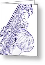 Sepia Tone Drawing Of A Tenor Saxophone 3356.03 Greeting Card