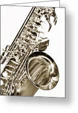 Sepia Tone Photograph Of A Tenor Saxophone 3356.01 Greeting Card