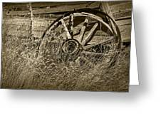 Sepia Toned Photo Of An Old Broken Wheel Of A Farm Wagon Greeting Card