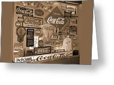Sepia Toned Signs Of Coca Cola Greeting Card