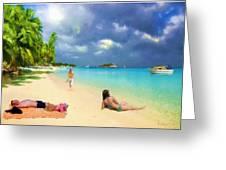 Serene Beach Scene Greeting Card