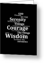 Serenity Prayer 5 - Simple Black And White Greeting Card