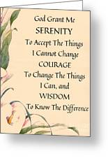 Serenity Prayer Typography On Calla Lilly Watercolor Greeting Card