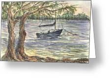 Serenity Sailboat Greeting Card