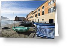 Sestri Levante And Boats Greeting Card