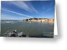 Sestri Levante With Blue Sky And Clouds Greeting Card