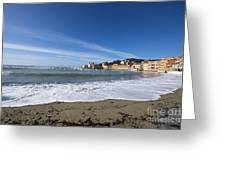 Sestri Levante With Waves Greeting Card
