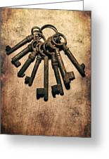 Set Of Old Rusty Keys On The Metal Surface Greeting Card