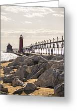 Setting Spring Sun In Grand Haven Greeting Card