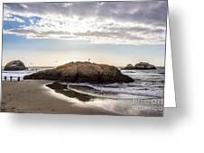 Setting Sun Against Rocks Near San Francisco Ca Cliff House Greeting Card