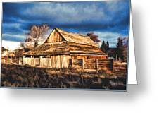 Setting Sun Gathering Storm And Old Homestead Greeting Card
