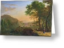 Setting Sun, Italy Oil On Canvas Greeting Card