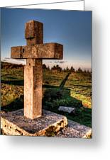 Setting Sun On A Cross By The Trenches Greeting Card
