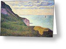 Seurat's Seascape At Port Bessin In Normandy Greeting Card