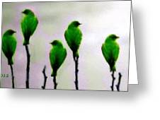 Seven Birds Of Green Greeting Card