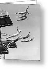 Seven Champion Diving In La Greeting Card